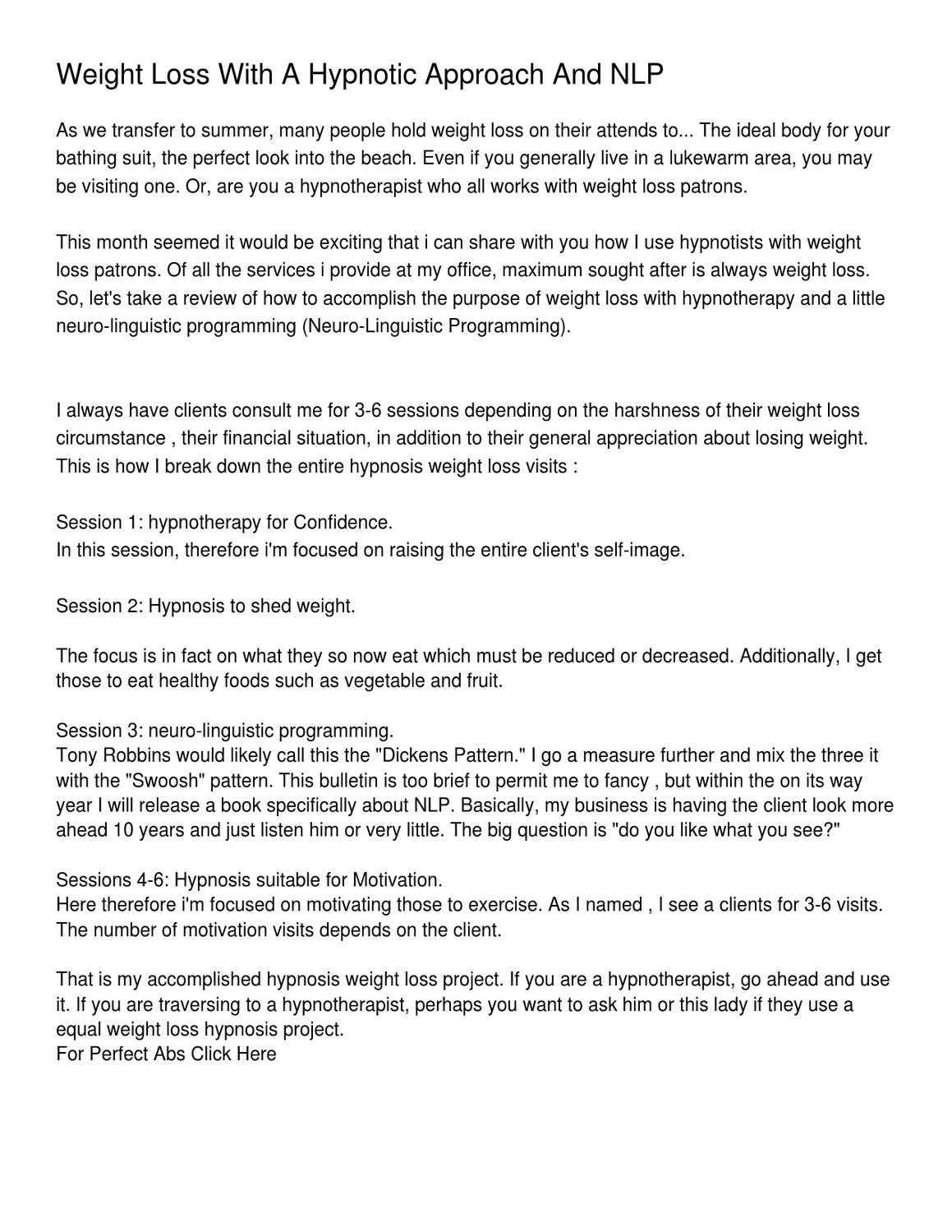 Weight Loss With A Hypnotic Approach And NLP by Gregory Williams - issuu