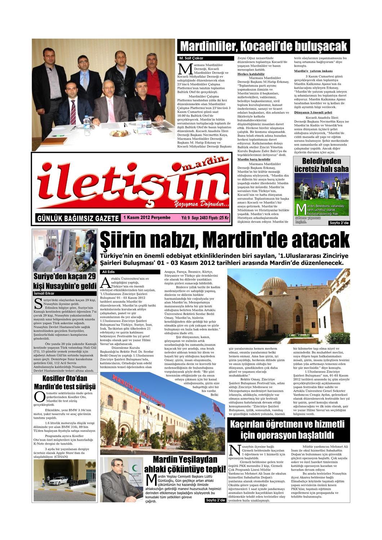 1 Kasim 2012 Persembe Gazete Sayfalari By Mardin Iletisim Gazetesi
