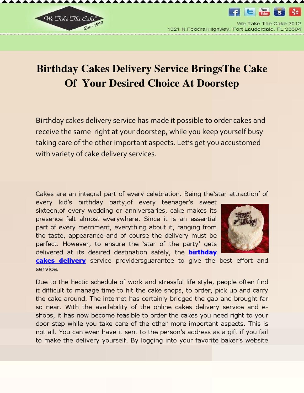Birthday Cakes Delivery Service BringsThe Cake Of Your Desired Choice At Doorstep By Info Cohen