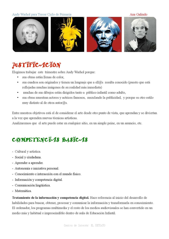 PROGRAMACIÓN DIDÁCTICA Andy Warhol by PALABRAS AZULES - issuu