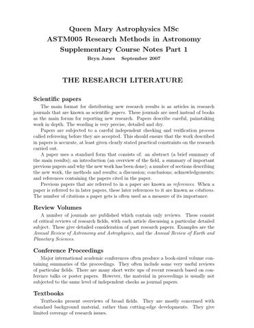 Research topis in astronomy term paper