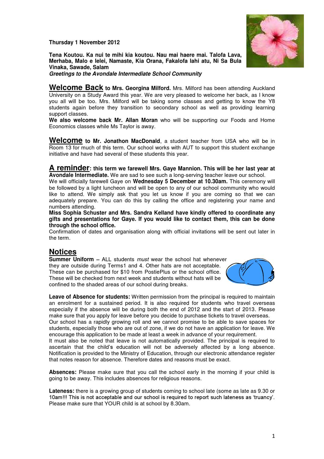 Newsletter 1 November 2012 By Avondale Intermediate School Issuu