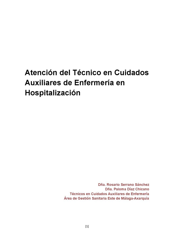 Atencion del Tecnico en Cuidados Auxiliares de Enfermeria en ...