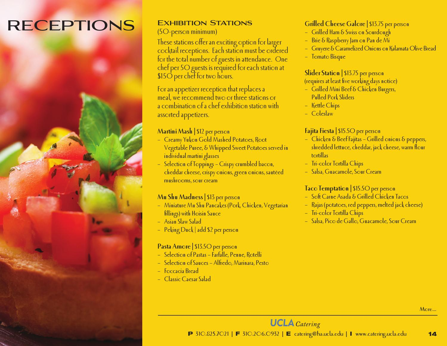 UCLA Catering - Receptions Menu by UCLA HHS Marketing - issuu