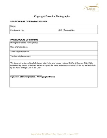 Copyright Release Form For Photographers By Laguna National  Issuu
