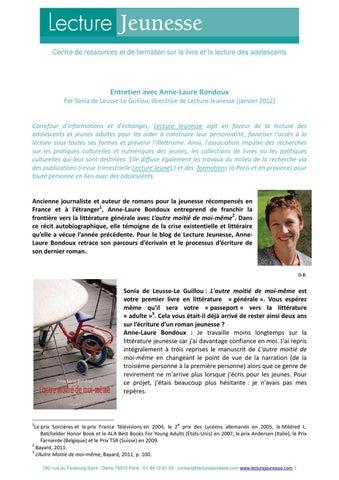Entretien Avec Anne Laure Bondoux By Lecture Jeunesse Issuu