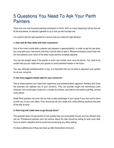 5 Questions You Need To Ask Your Perth Painters There Are Over One Thousand Painting Contractors In With So Many Reuring Names That All Full