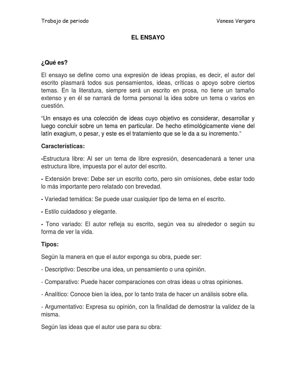 Ensayo Y Sus Clases By Vane Vergara Issuu