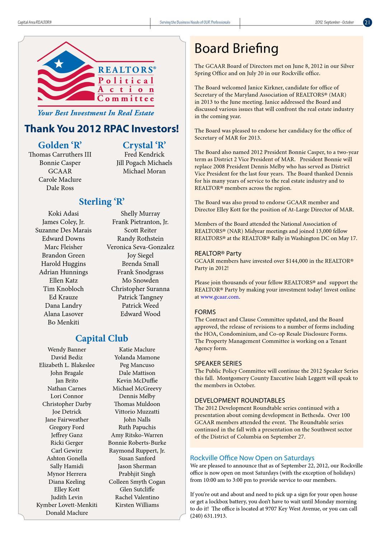 Capital Area REALTOR® Sept/Oct 2012 by GCAAR - issuu