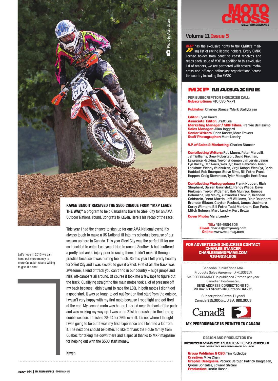 1105 MXP Magazine by Motocross Performance Magazine - issuu