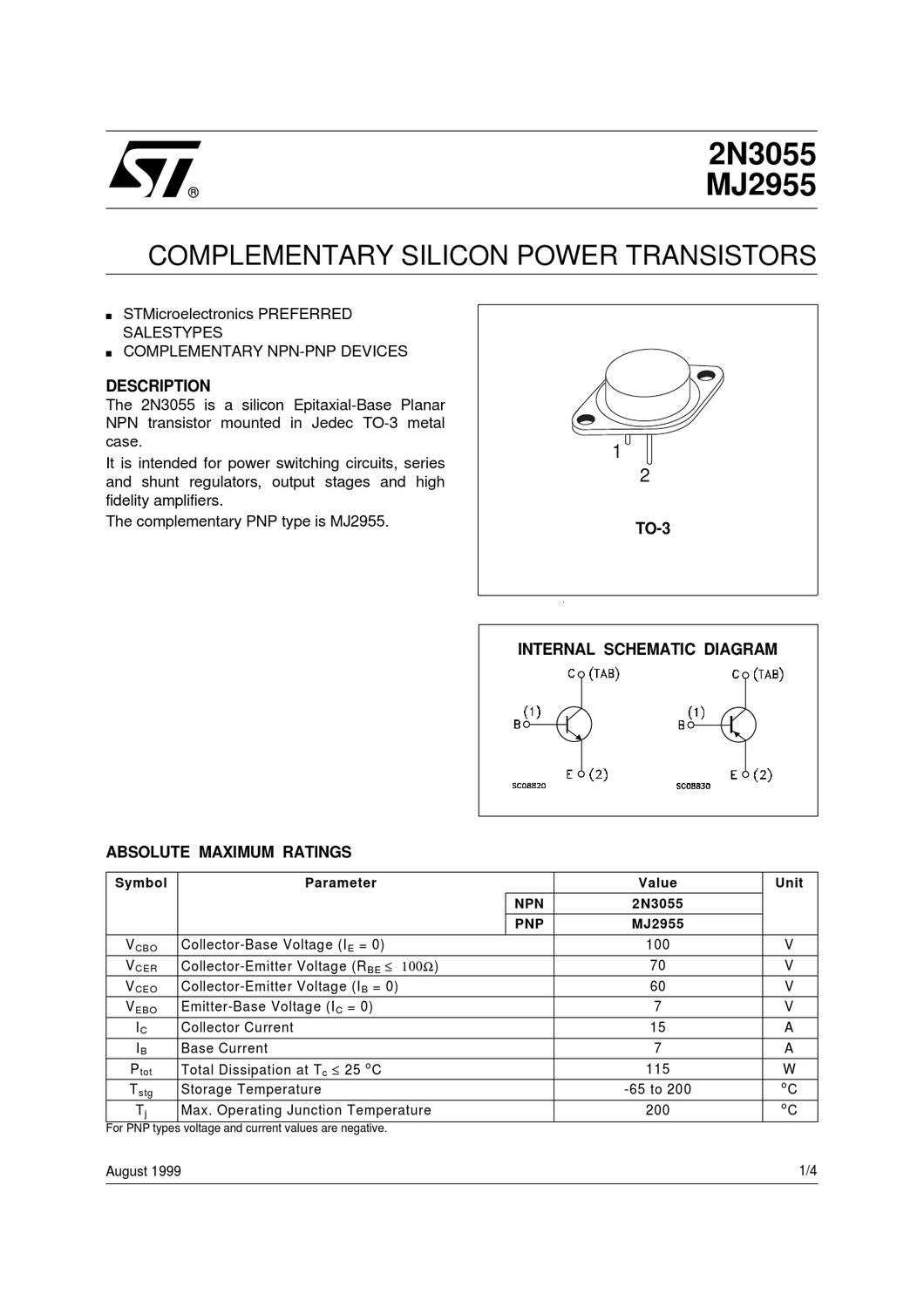 Transistor 2n3055 By Gerson Villa Gonzalez Issuu Npn Switch Circuit