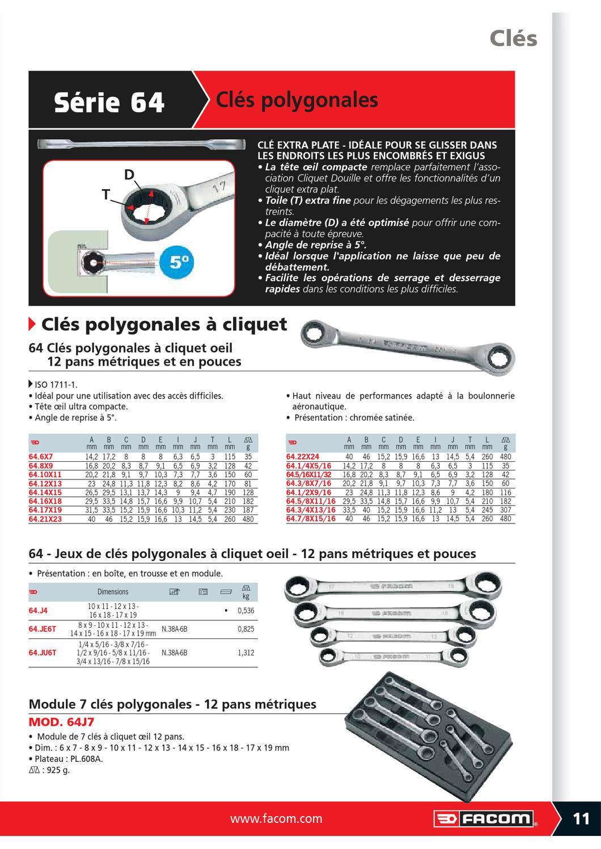 Facom 64.JE6T-Jeu de 6 Cl/és Plates 12C Cliquet Mm