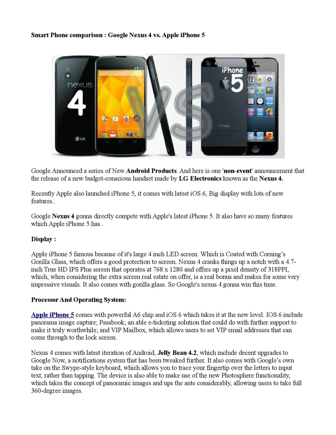 Smart Phone comparison Google Nexus 4 vs  Apple iPhone 5 by