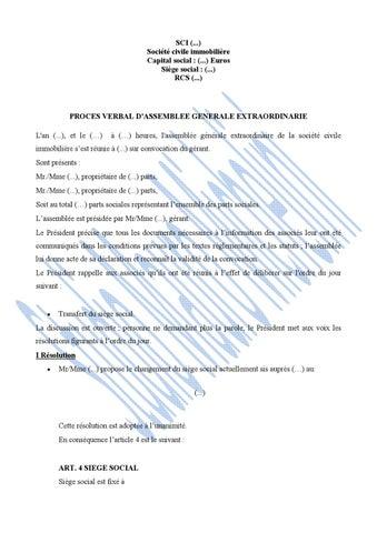 Proces Verbal D Assemblee Generale Extraordinaire Pour Le Transfert De Siege De La Sci By Cabinet Michelini Issuu