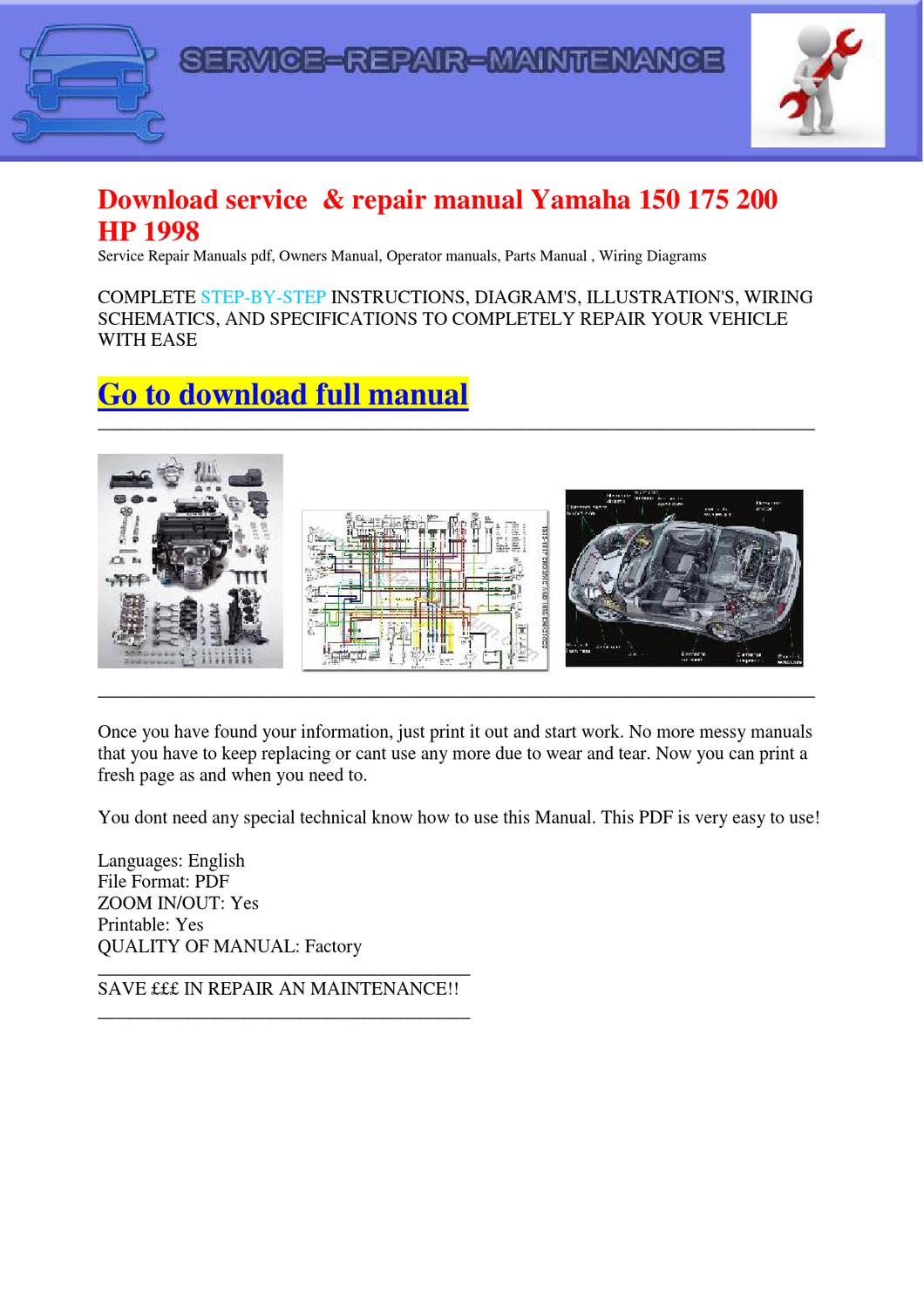 Download Service Repair Manual Yamaha 150 175 200 Hp 1998 By Wiring Diagram Dernis Castan Issuu