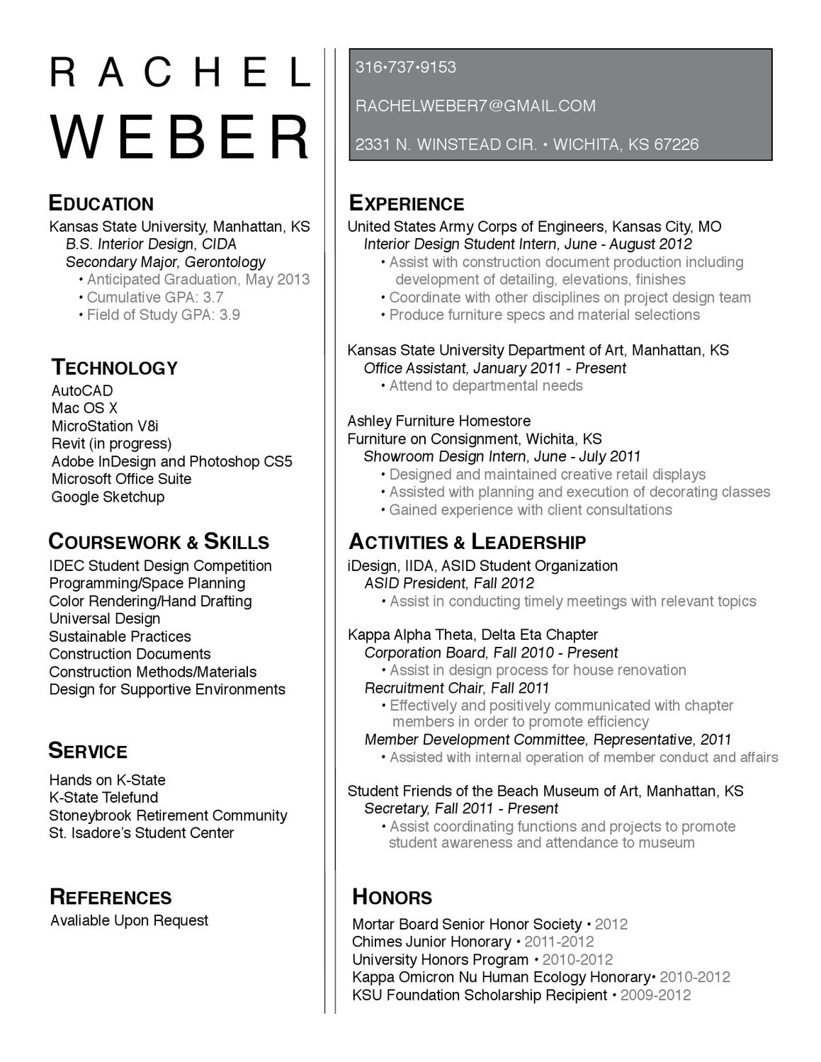 Rachel Weber Resume By