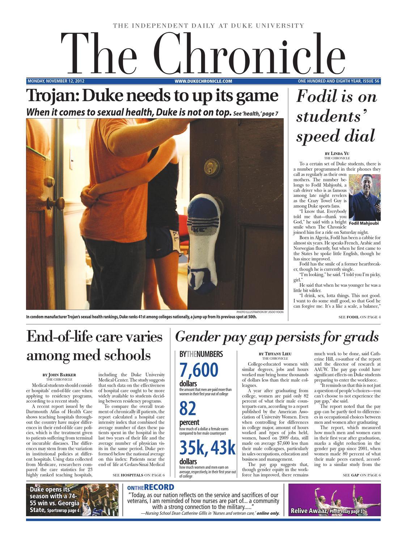 Nov  12, 2012 issue of The Chronicle by Duke Chronicle - issuu