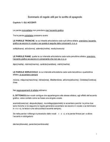 Sommario Di Regole Di Spagnolo By Carmine Apice Issuu