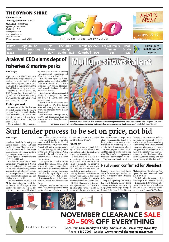 Byron Shire Echo – Issue 27.23 – 13 11 2012 by Echo Publications - issuu 36661ddb1905a