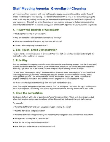 the greenearth difference meeting agenda by greenearth cleaning issuu