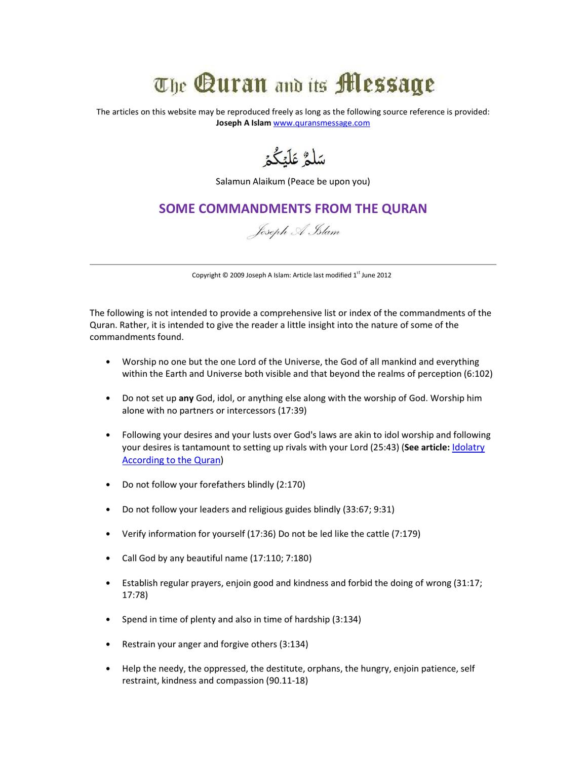 Some Commandments from the Quran by Simone Powers - issuu