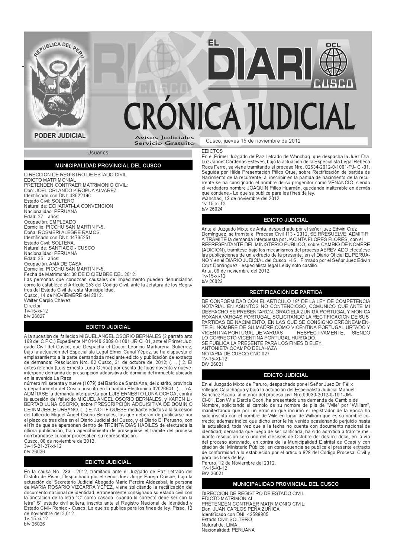 Avisos Judiciales Cusco 151112 by El Diario del Cusco - issuu