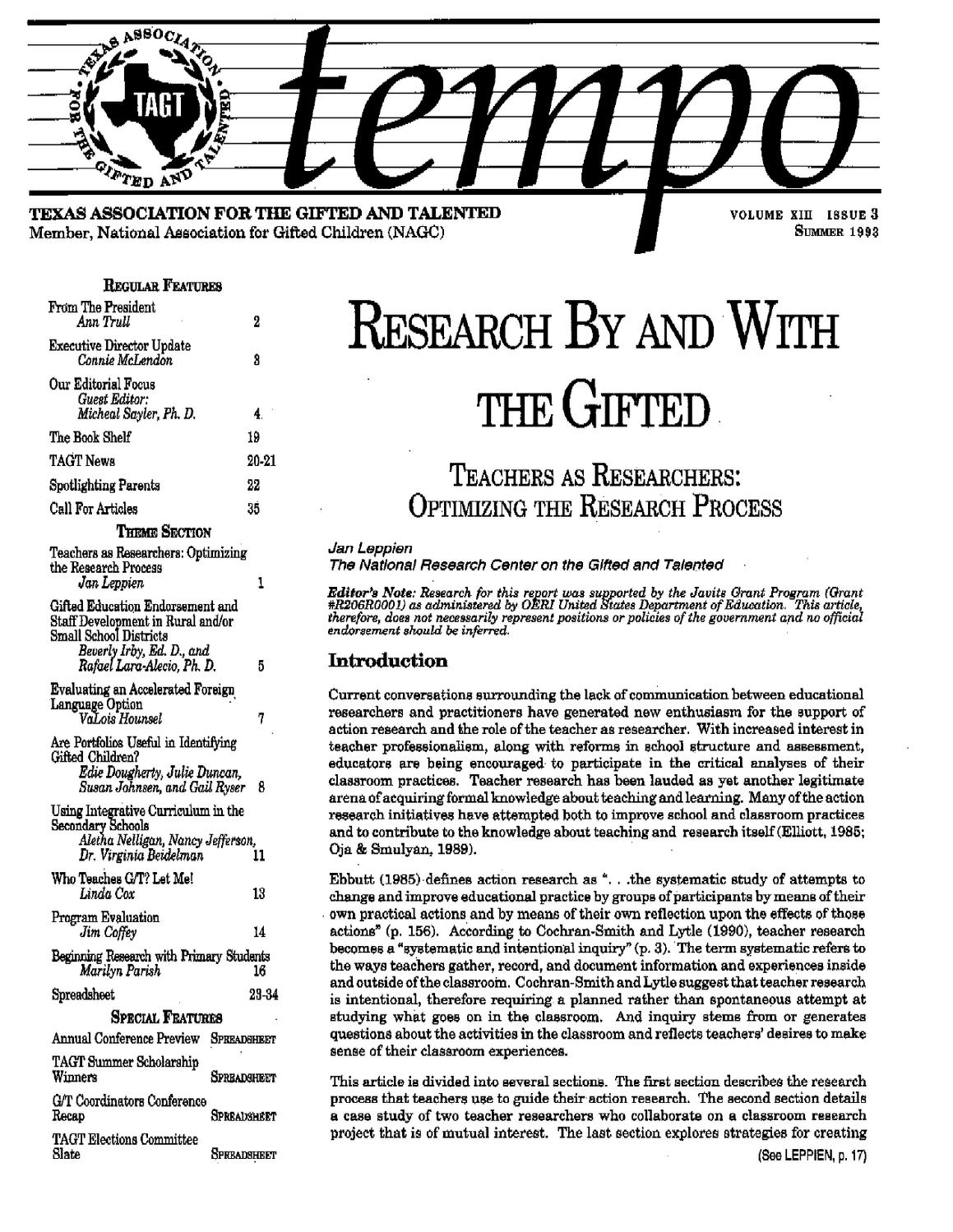 1993-3 by Texas Association for the Gifted & Talented - issuu