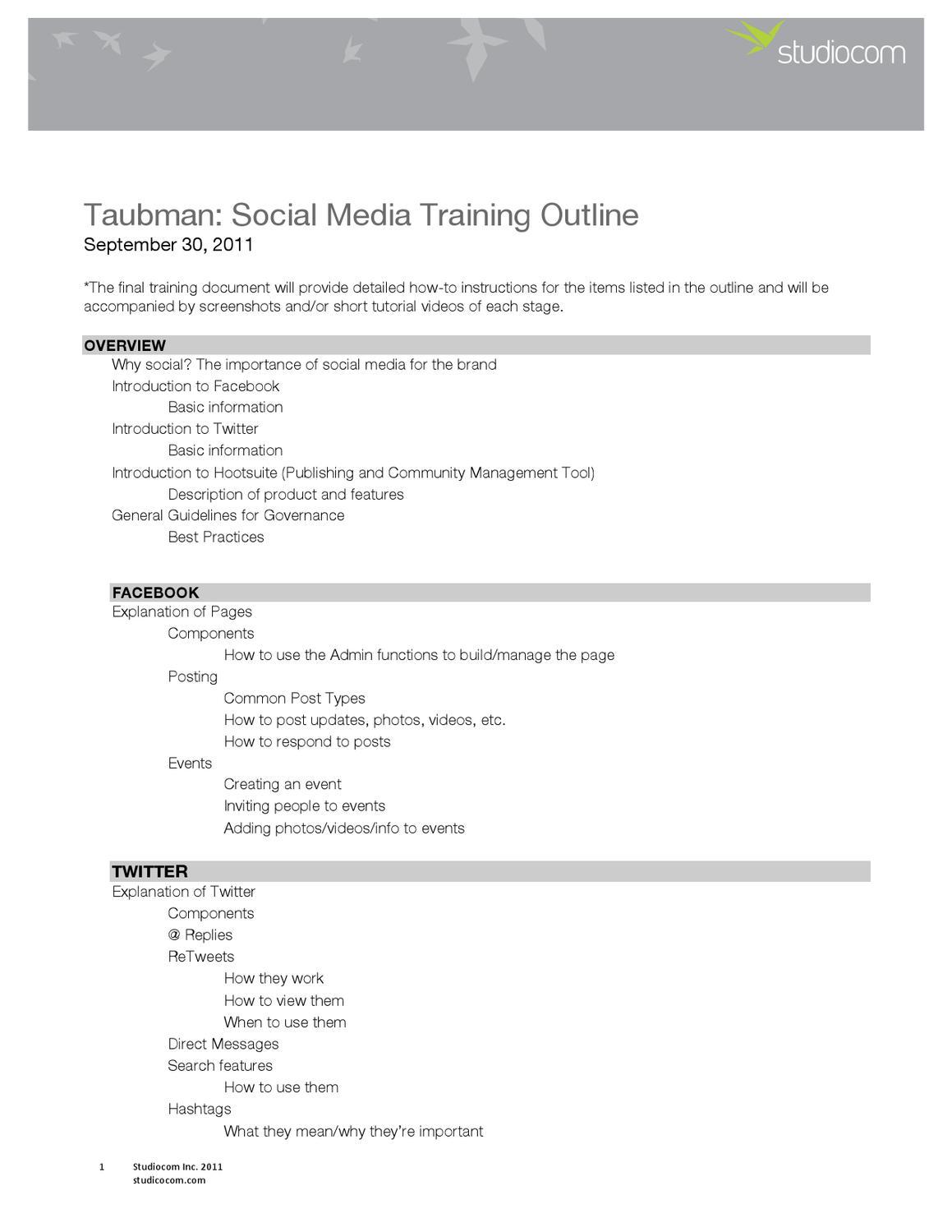 Social Media Training Guide by Anthony Cignarella - issuu
