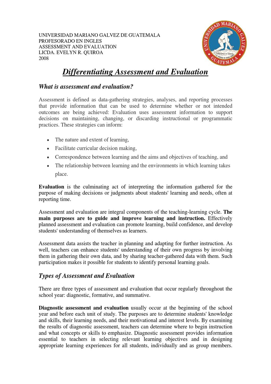 The Difference Between Assessment And Evaluation By Alcira Sanabria