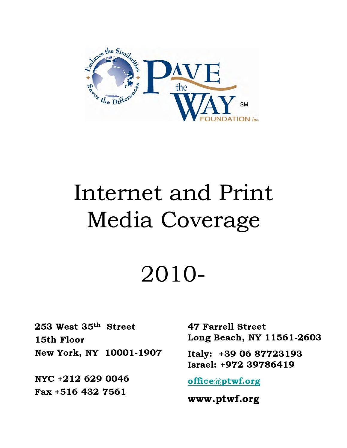Pave the Way Foundation News Coverage 2010 by Dennis Tritaris - issuu