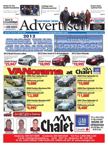 Kootenay News Advertiser, November 19, 2012