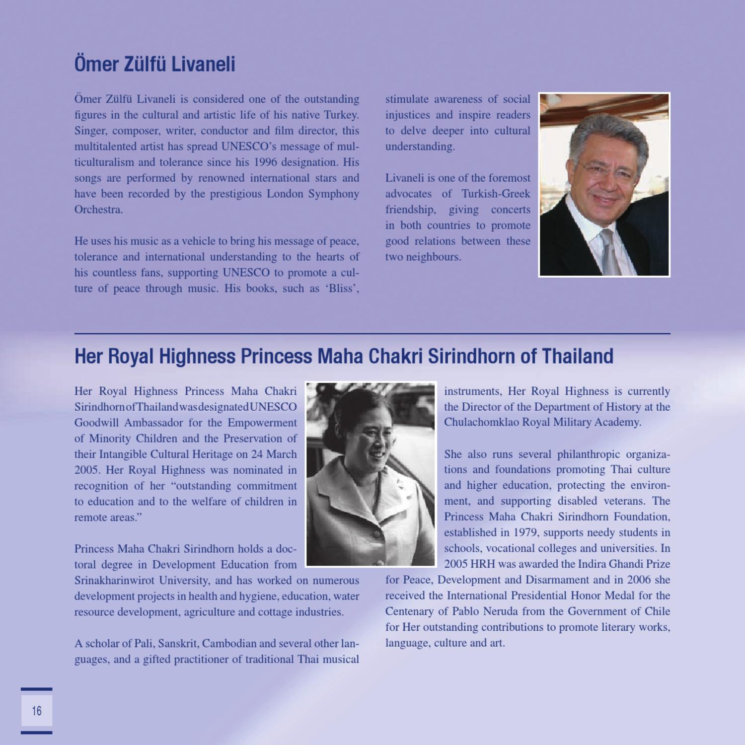 Brochure of UNESCO Goodwill Ambassadors Published in 2009 by JMJ