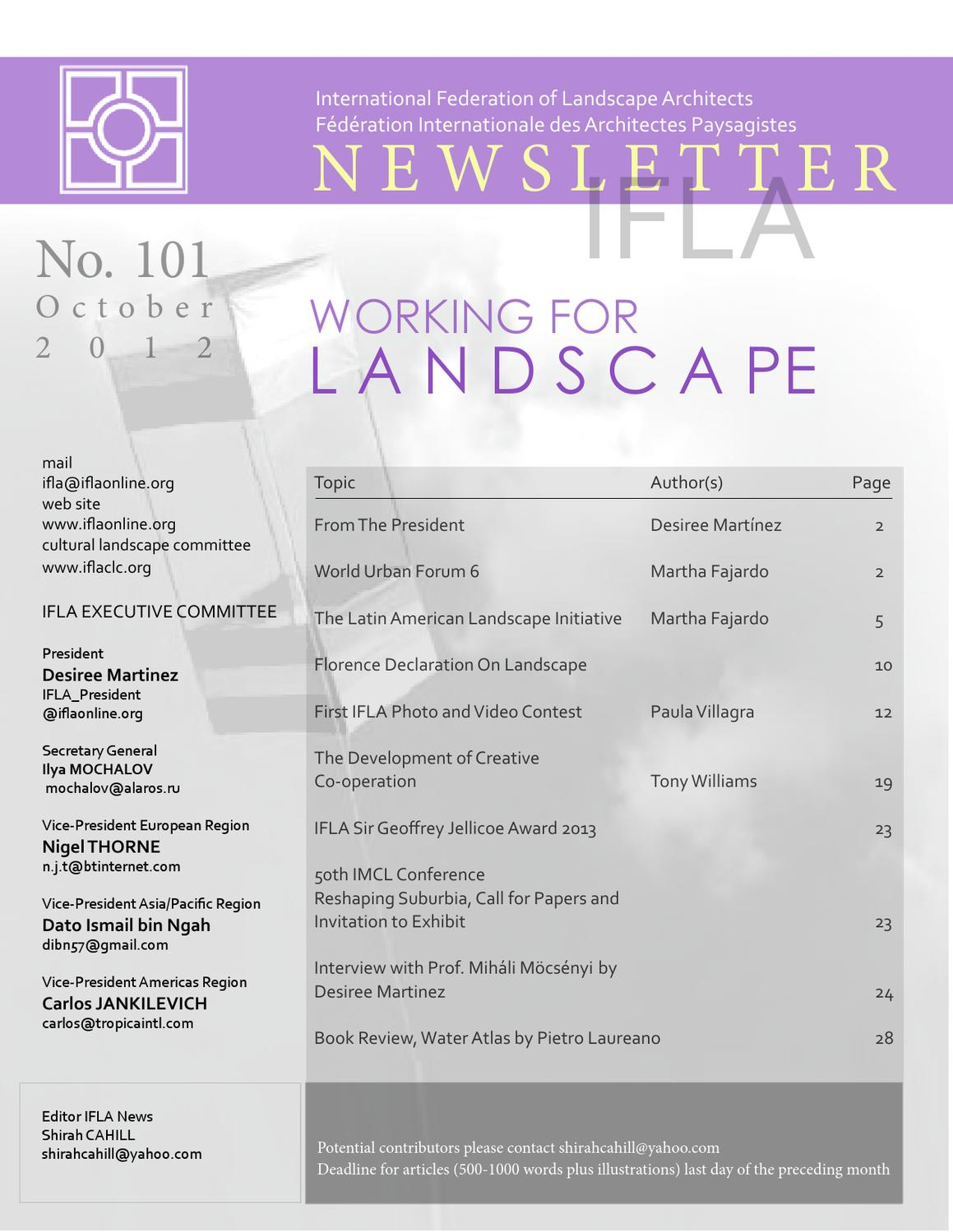 Ifla newsletter october 2012 by international federation for International federation of landscape architects