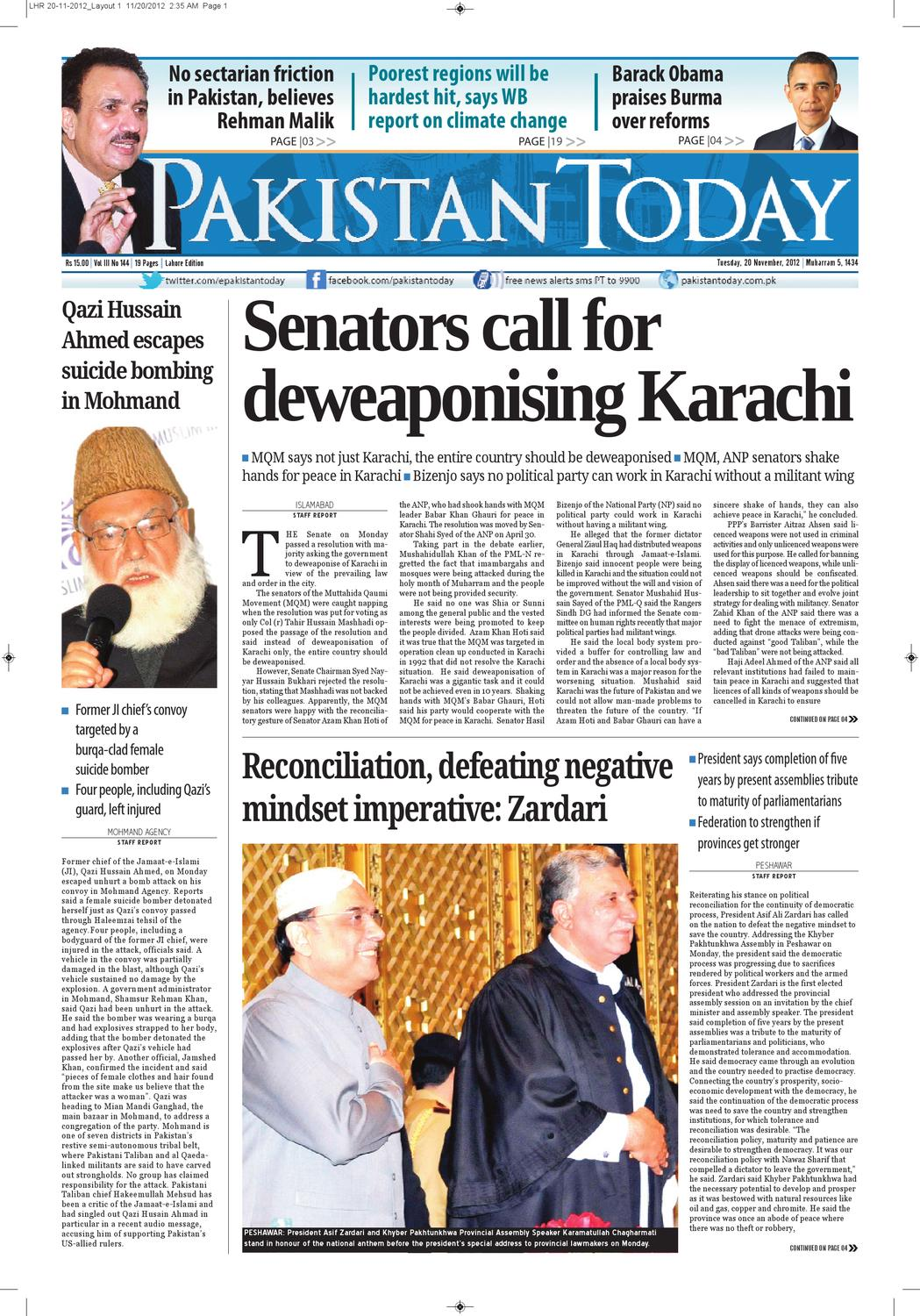 e-paper pakistantoday 20th November, 2012 by Pakistan Today - issuu