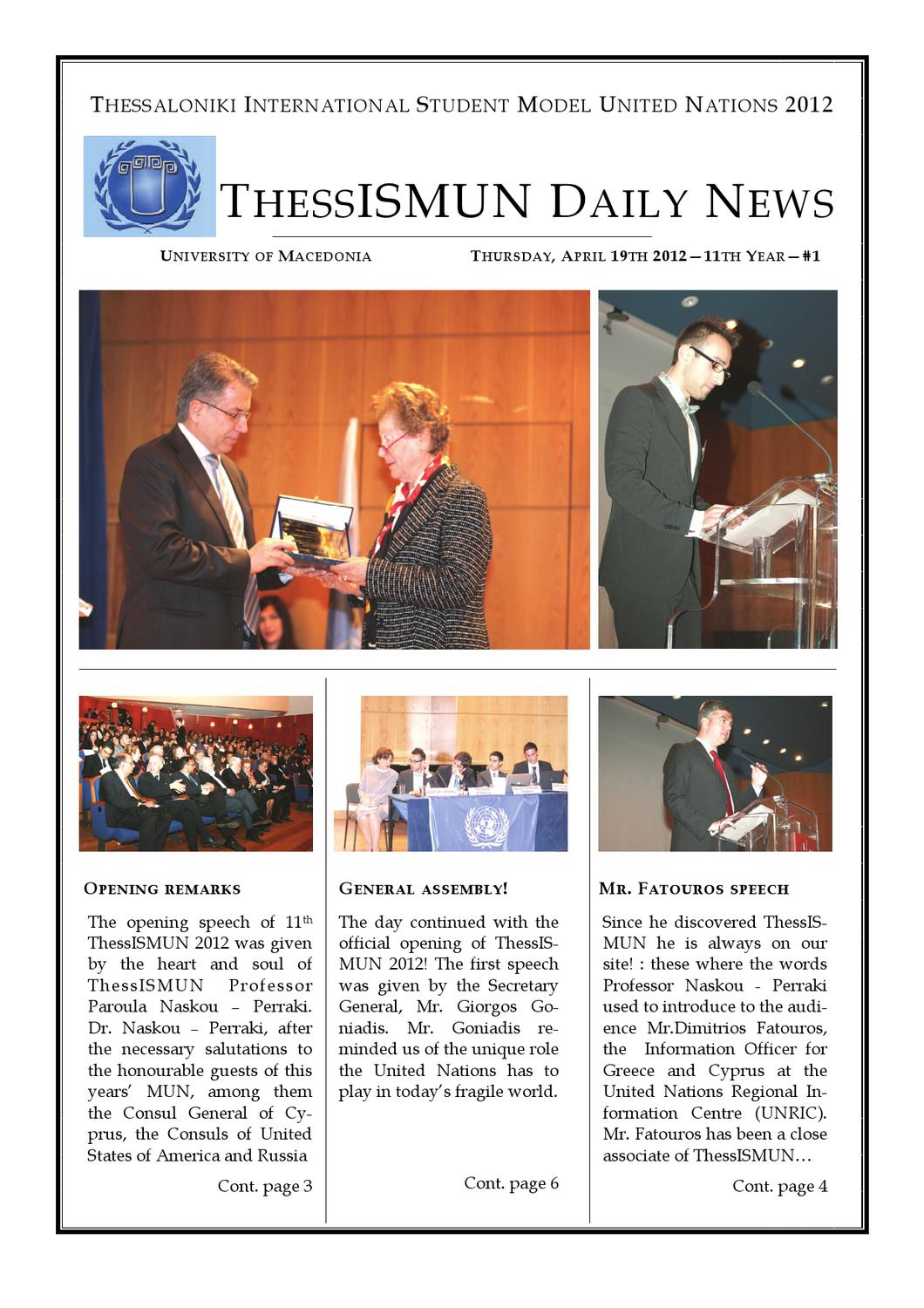 ThessISMUN Daily News Issue 1 by Stefanos Katsoulis - issuu