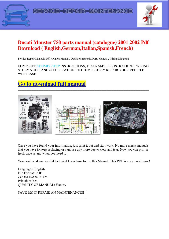 Ducati Monster 750 Wiring Diagram Service Manual Bots S4 Parts Catalogue 2001 2002 Pdf Download Englishgermanitalianspanish California 1100 Jackal