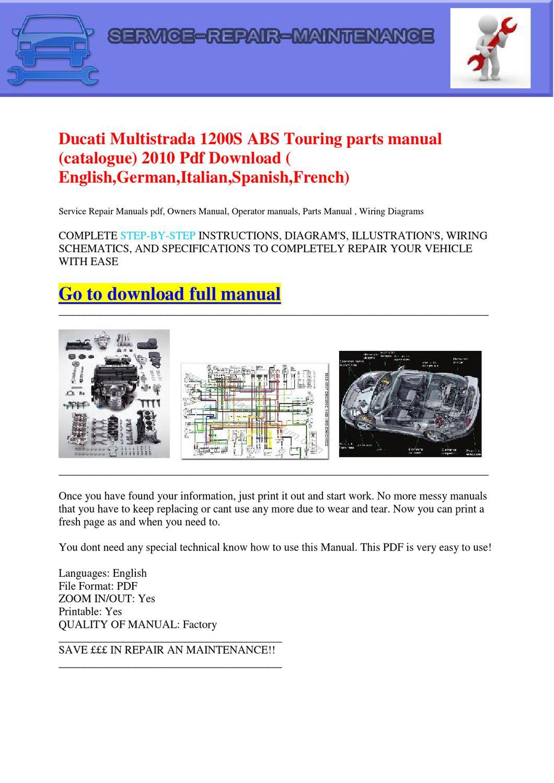 Ducati Multistrada 1200s Abs Touring Parts Manual