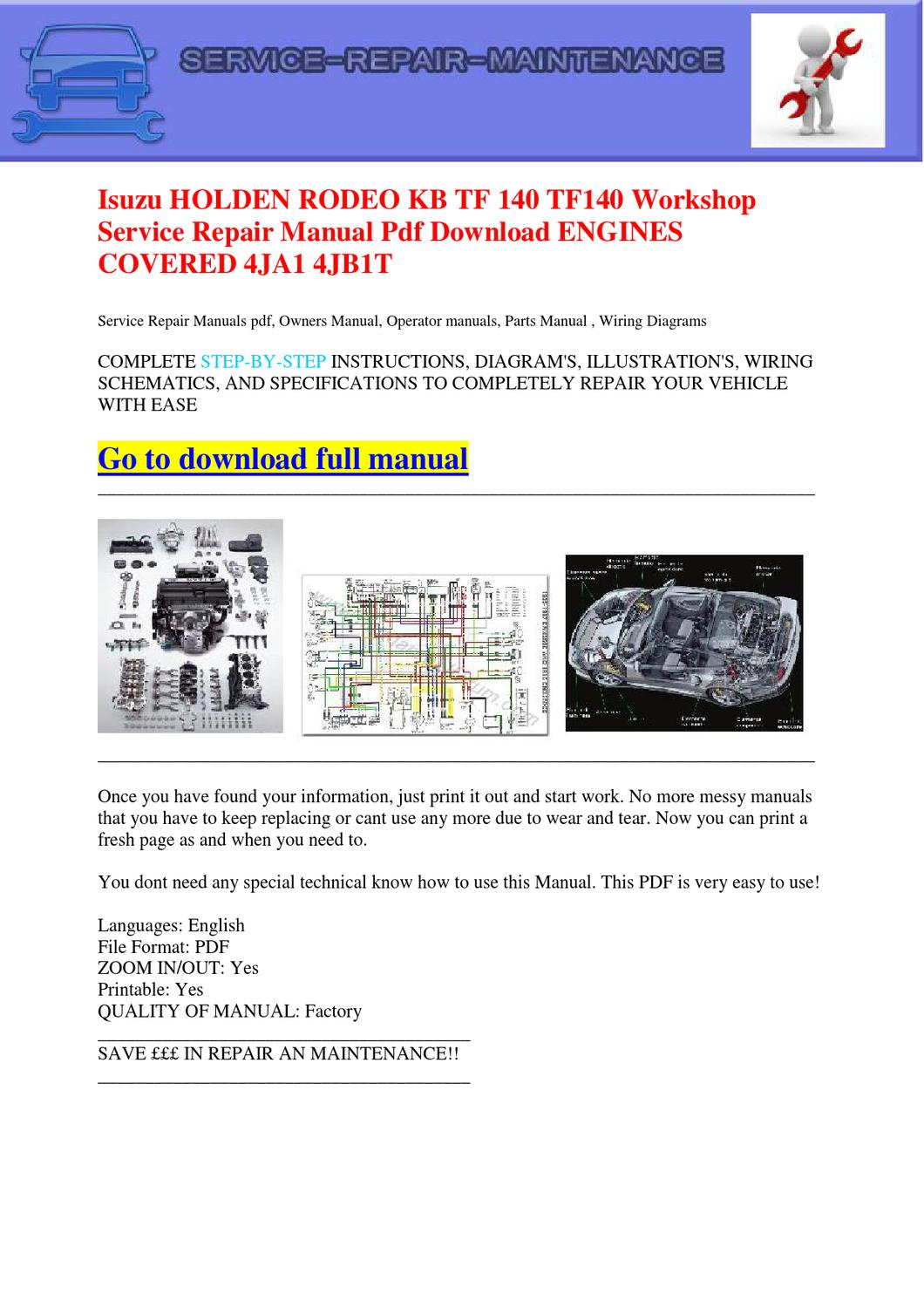 Isuzu HOLDEN RODEO KB TF 140 TF140 Workshop Service Repair Manual Pdf  Download ENGINES COVERED 4JA1 by Dernis Castan - issuu
