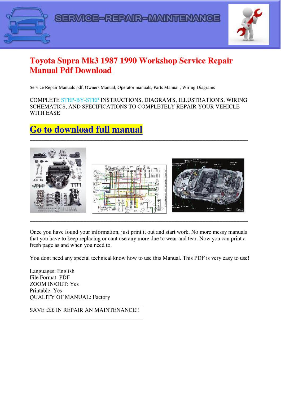 Toyota Supra Mk3 1987 1990 Workshop Service Repair Manual