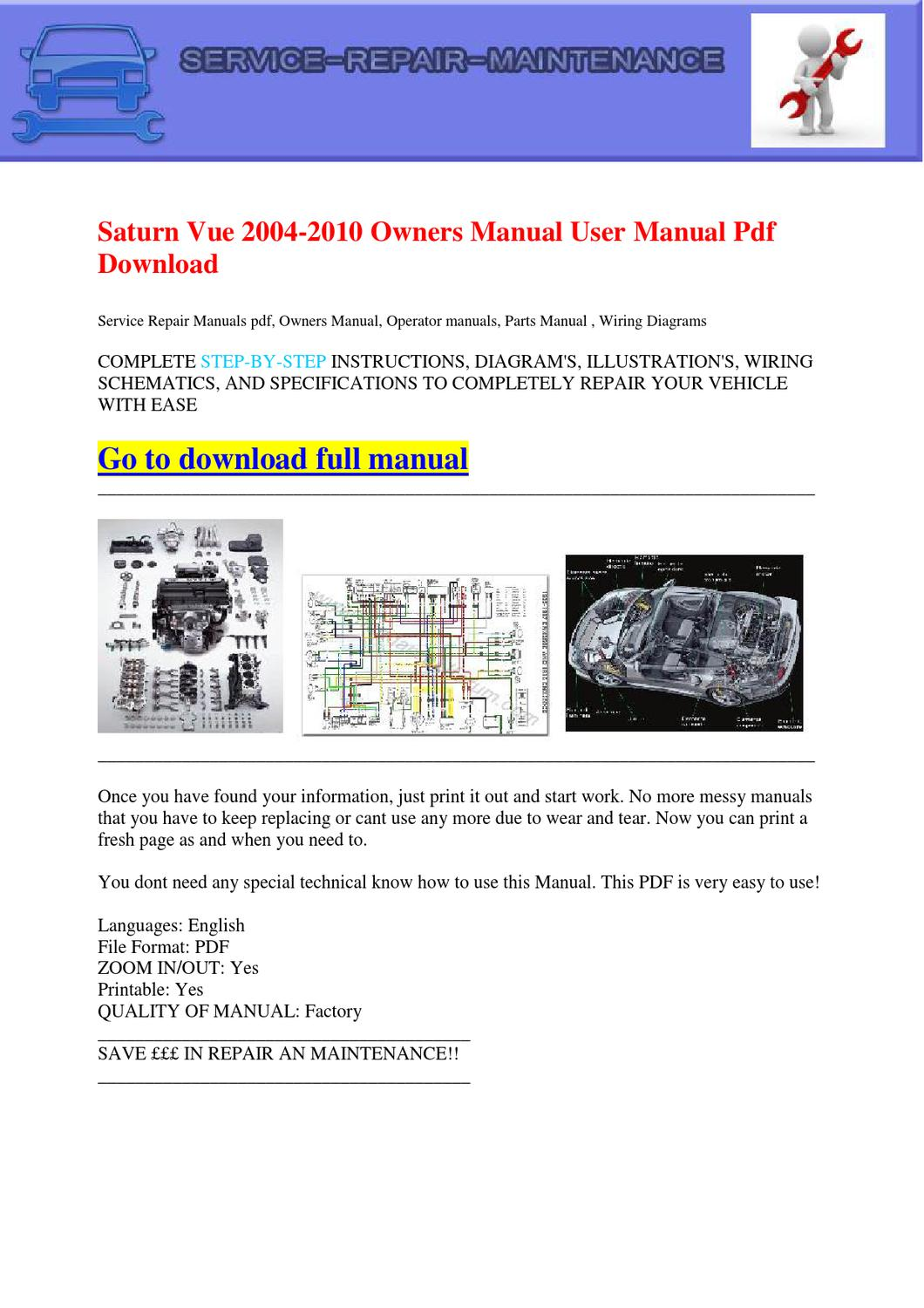 Saturn Vue 2004 2010 Owners Manual User Pdf Download By Repair Diagrams Dernis Castan Issuu