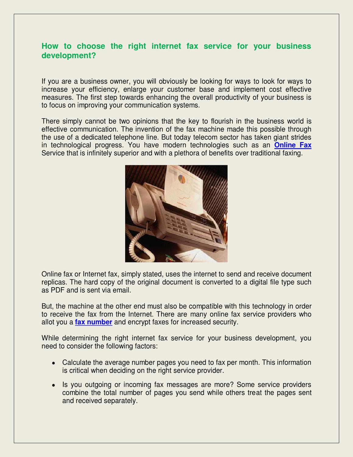 How To Choose The Right Internet Fax Service For Your Business Development By James Allen Issuu