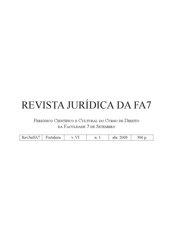 Revista Jurídica da FA7 6ª Edição by 7 de Setembro Faculdade - issuu e6a5a6dcb73d5