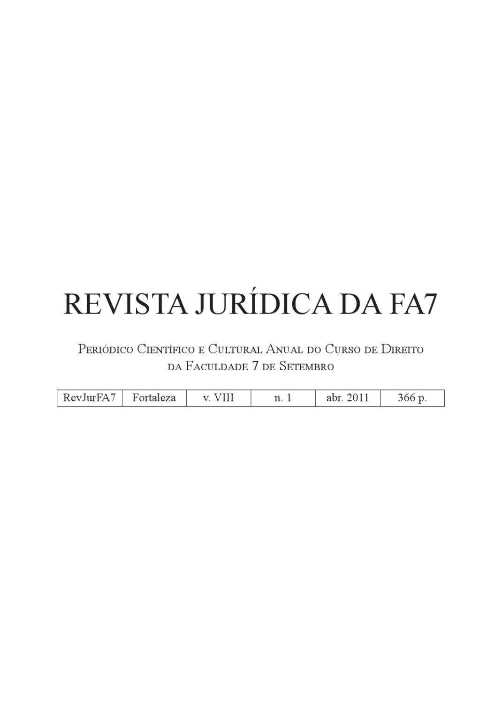 5ae8e7636d6 Revista Jurídica da FA7 8ª Edição by 7 de Setembro Faculdade - issuu