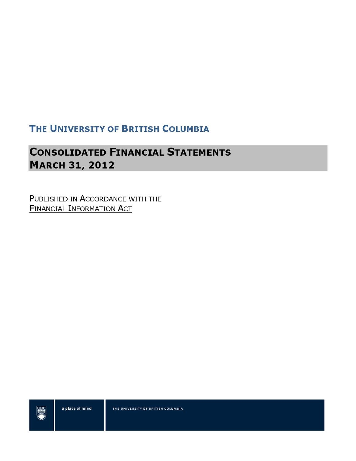 Ubc Financial Information Act Report 2012 By Ubyssey Docs Issuu