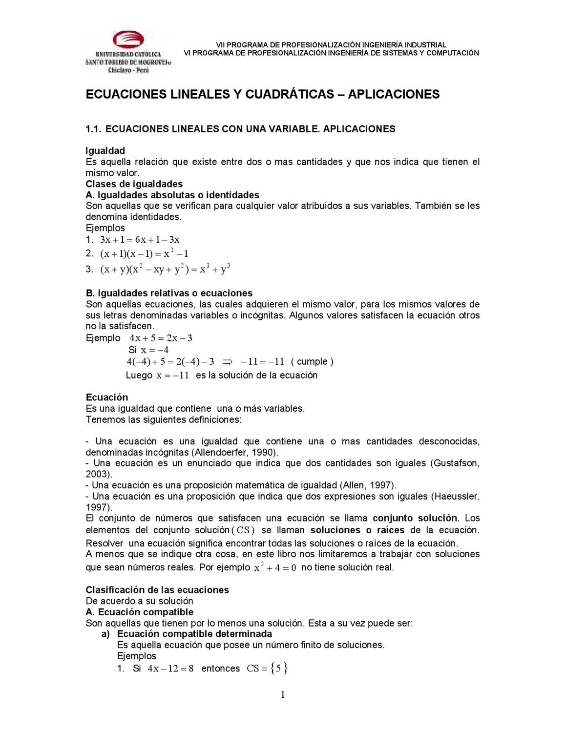 ECUACIONES LINEALES Y CUADRATICAS by David Gonzales - issuu