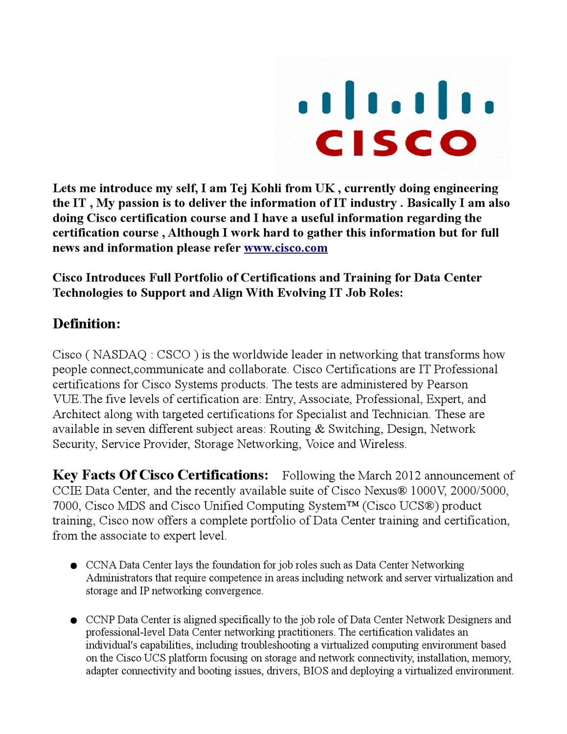 Tej Kohli Cisco Updates Certification Training News by Aney Den - issuu