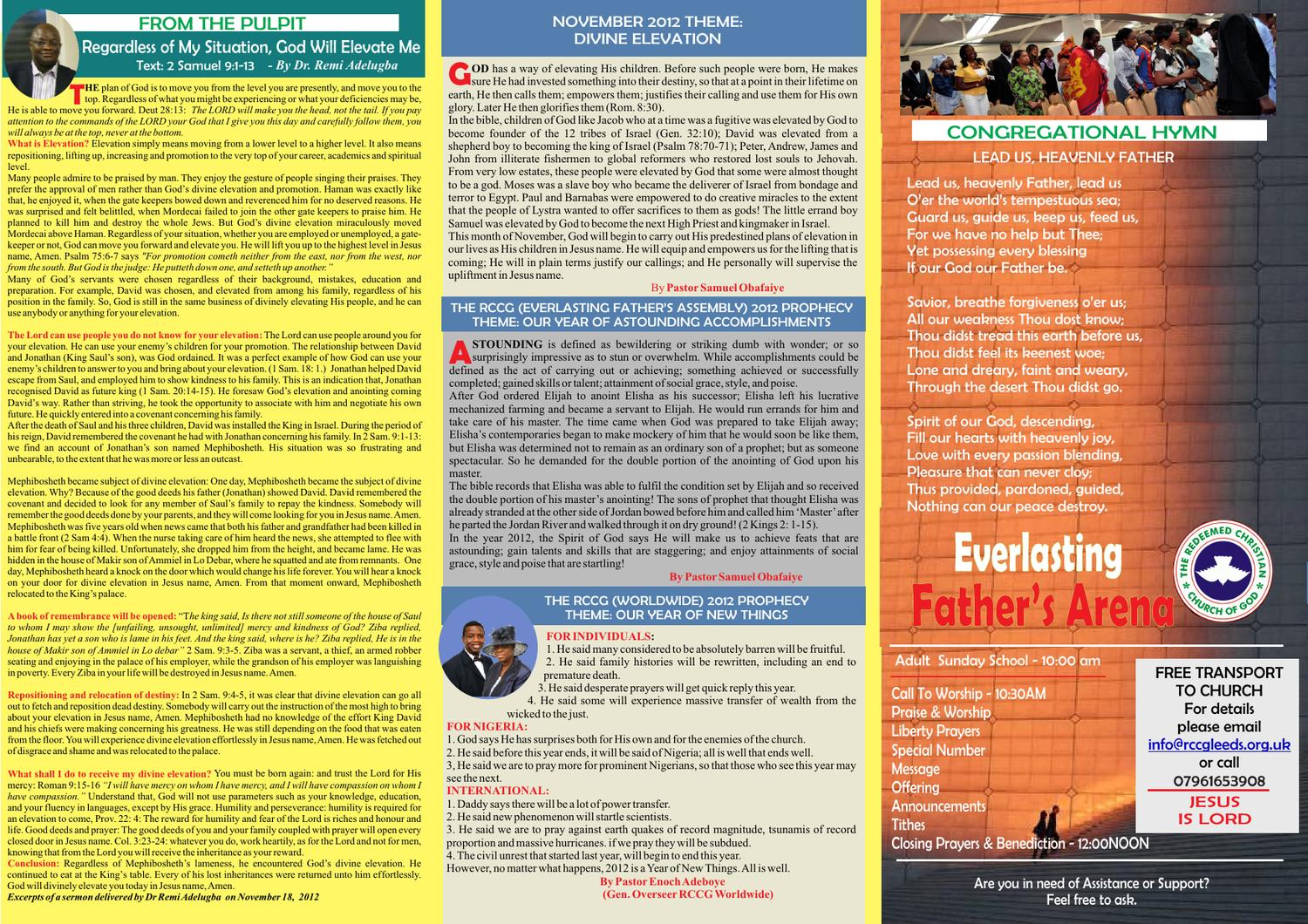 Service Bulletin for RCCG Everlasting Father's Arena, York