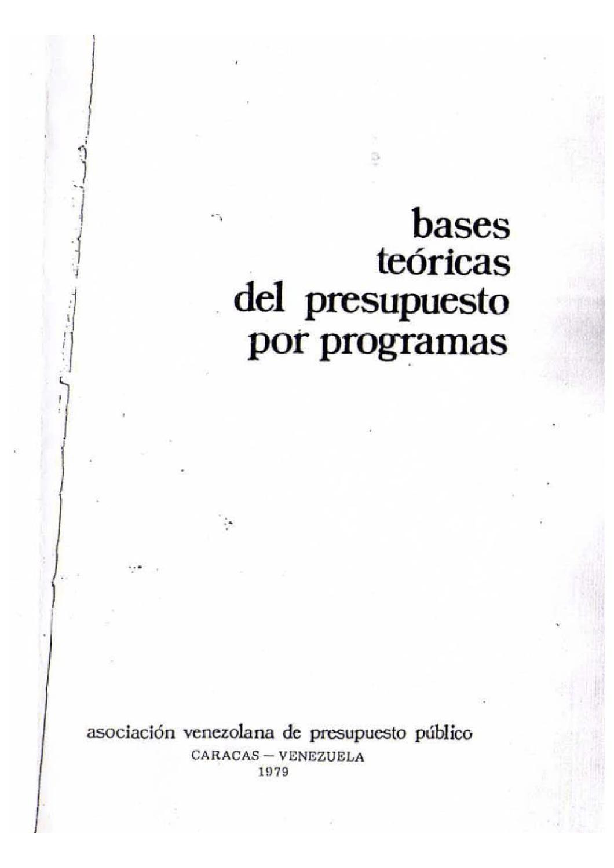 Bases Teóricas Del Presupuesto Por Programas By Asap Asap