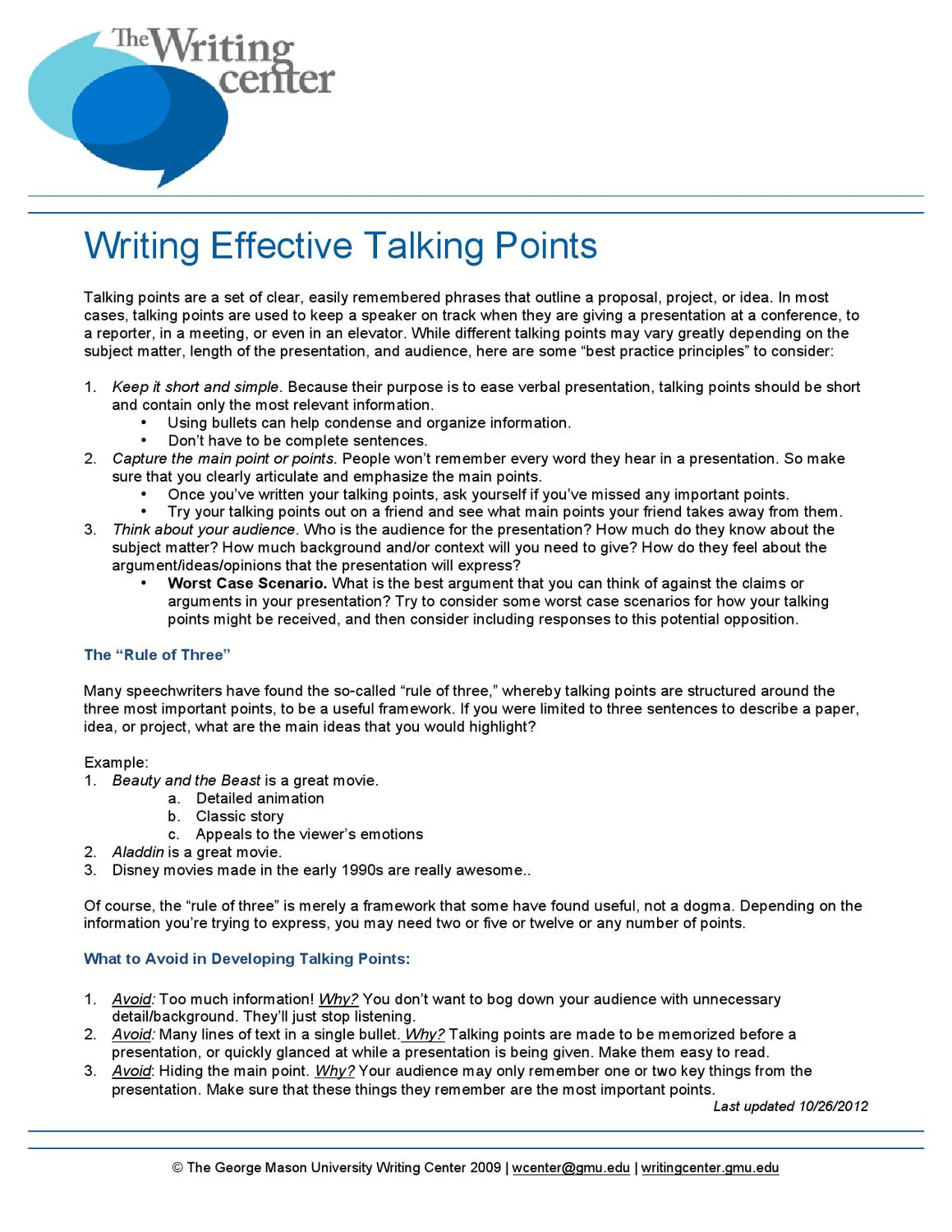 Writing effective talking points by writing center issuu for Talking points template word