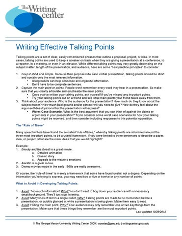 How to write a talking points paper